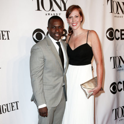 Joshua Henry (L) and Cathryn Stringer attend American Theatre Wing's 68th Annual Tony Awards at Radio City Music Hall on June 8, 2014 in New York City.